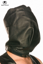 Spartacus Bag-Style Hood : Cagoule en cuir noir, opaque et coupée à la manière d'un sac pour faire monter la pression.