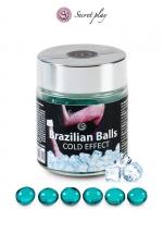 6 Brazillian balls - effet frais : La chaleur du corps transforme la brazilian ball en liquide glissant à effet frais, votre imagination s'en trouve exacerbée.