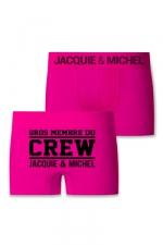 Boxer J&M Crew : Boxer sans couture, coloris fuchsia,  avec inscription Gros membre du CREW Jacquie et Michel sur l'arrière.