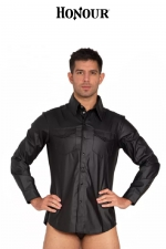 Chemise Fitted Shirt faux cuir : Chemise à poches faux cuir.